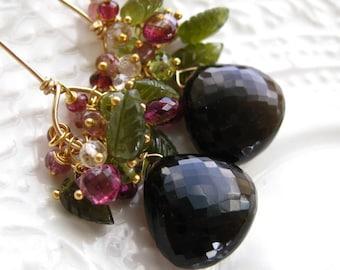 Smoky Quartz Gemstone Earrings Gemstone Cluster Earrings