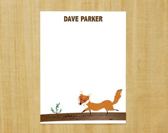 Stationery set of 8 PERSONALIZED Mr. Fox Note Cards
