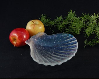 Fused glass art plate, transparent shell with irridized inside