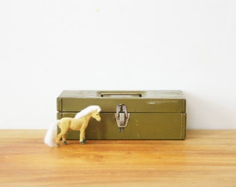 vintage 50s Worn and Small Olive Green Tool Box File Box- Perfect Industrial Storage