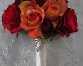 Orange and Red Bridal Fall Summer Wedding Destination Bridal Bouquet Set