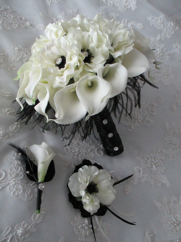 Wedding accessories ideas calla lillies white real touch silk anemones black ostrich feathers bridal bouquet hairpiece boutonniere trio set mightylinksfo