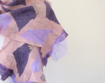 SALE Felted Scarf with  Shabby Purple Silk  Wool Mauve