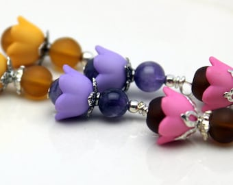 3 Pair of Baby Bell Lucite Flower Bead Dangle Charm Drop Sets In Purple Pink and Orange