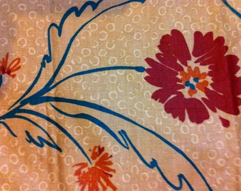Light Brown Drapery Fabric  with Maroon Flowers