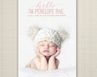 hi birth announcement, hello baby, baby boy announcement, baby girl announcement, Double sided, newborn printable, digital, modern