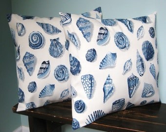 Blue and Off White Seashell Print Pillow Covers 16x16 Set of 2