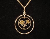 Bermuda 10 Cents Lillies 24kt gold plated