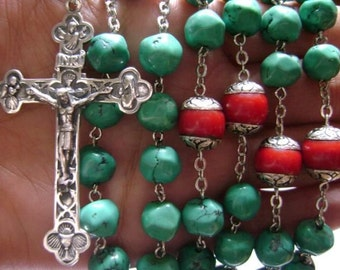 Rare Real Turquoise Coral Rosary Sterling 925 Silver Cross