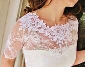 KISS Me In BARILOCHE bridal lace top bolero wedding shrug white lace top white lace blouse bridal bolero jacket wedding bolero