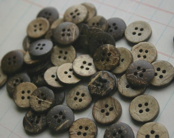 "Wood Buttons - Wooden Button - Coconut Wood Button Four Holes - 5/8"" Wide"