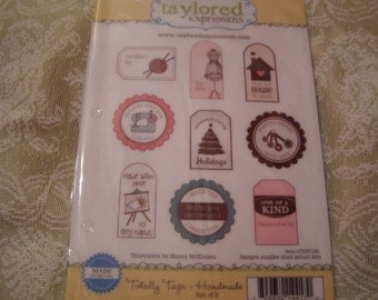 Totally Tags - Handmade - Taylored Expressions set of 9 images on foam mounted pink rubber Cling Unmounted Stamps