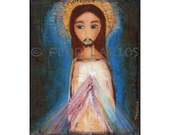 Divine Mercy - Folk Art  Print from Painting (8 x 10  inches Print) by FLOR LARIOS