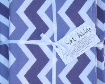 Extra Large Purple Chevron Baby Blanket and 2 Burp Cloth Set - 38 X 38