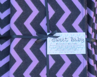 Extra Large Purple and Black Chevron Baby Blanket and 2 Burp Cloth Set - 38 X 38