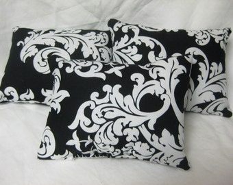 Three Black And White Damask Pillows For American Girl Inspired  Doll 18'' American Made