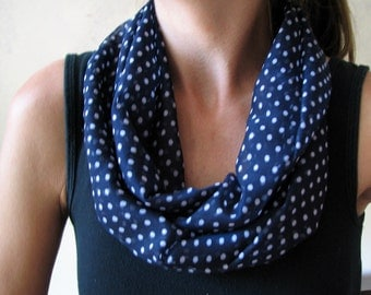 White Dots on Navy Chiffon Infinity Scarf