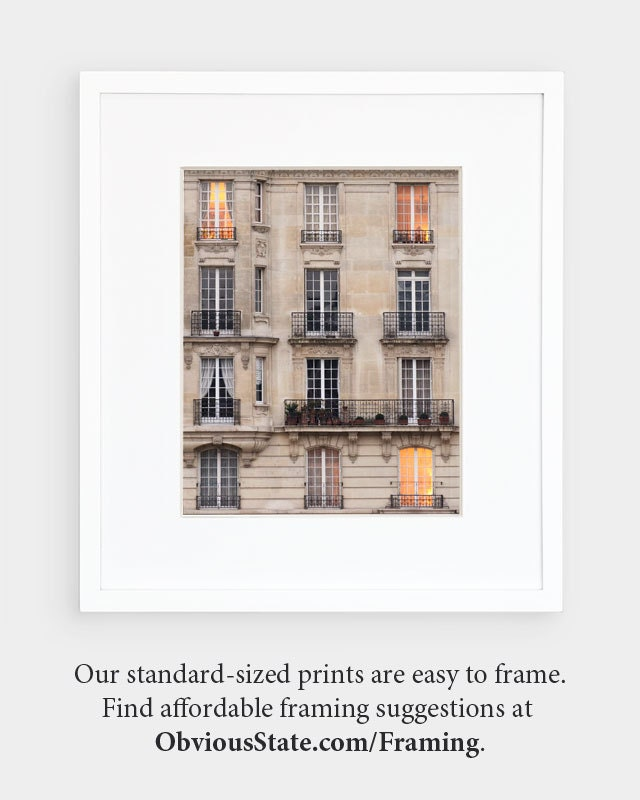 Paris Photography, Sunset Windows Paris Print Extra Large Wall Art Prints, Paris Wall Decor, Apartment Art for Her