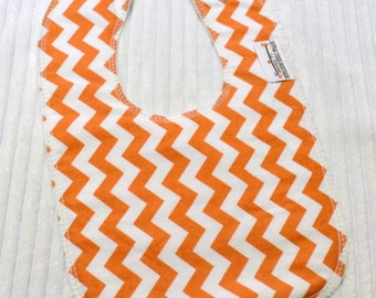 Orange Chevron Drooler Bib - Organic Cotton Middle Layer, Non Wicking Backing