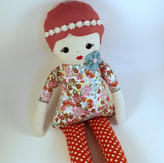 Handmade Cloth Rag Doll Pink Hair Floral Print Dress By