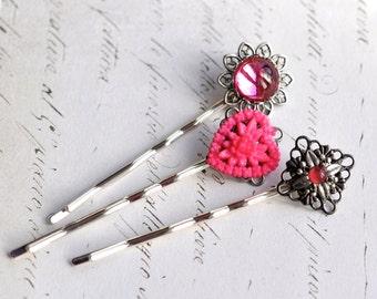 Hair Pin Set Pink Heart