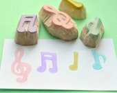musical notes hand carved rubber stamp set, handmade rubber stamps