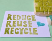 reduce reuse recycle hand carved rubber stamp, handmade rubber stamp set