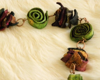Handcrafted Dried Fiber Necklace Copper Chain Long Light Weight Shipping Included