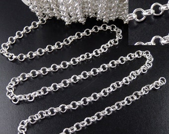 CLEARANCE Silver Cross Chain 42 Inches Chain Shiny Silver Round Circle Cable Firm Unsoldered 4.8mm x 4.8mm x 1.5mm 18g (1026cha04s1)