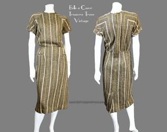 1960s Stacy Ames Vintage Dress Green Gray Black Striped Knit Large