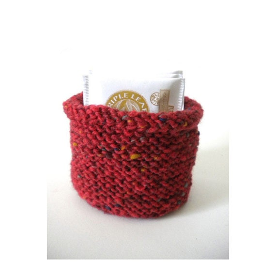Small Oval Knitted Basket - Red Tweed Hand Knit Bowl - Knitted Mini Basket - Card Holder - Tea Caddy