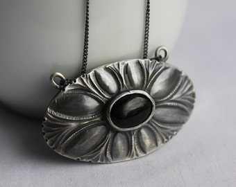 Flower Necklace, Sterling silver, Onyx, Black patina, Oval pendant with chain, chiselled, Metalsmith,  unique, Florid Victorian, Ornamental