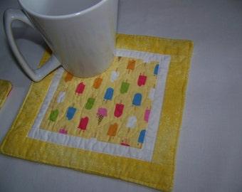 Popsicles and Ice Cream Mug Rug Coaster or Mini Quilt