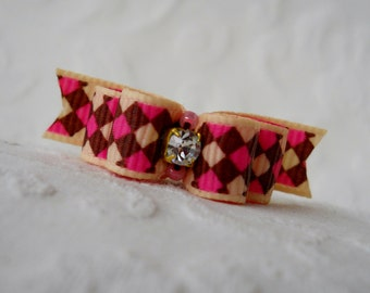 "Dog Bow-  3/8""  Crystal Argyle Double Loop  Dog Bow"