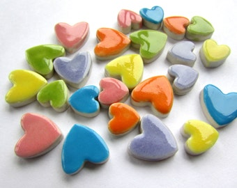 24 handmade mixed size  valentines heart tiles great for mosaics cardmaking or scrapbooking.