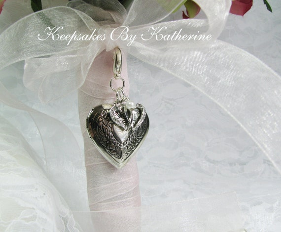 Bridal Bouquet Locket Charm : Heart locket bridal bouquet charm elegant by