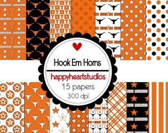 Digital Scrapbook Hook Em Horns-INSTANT DOWNLOAD