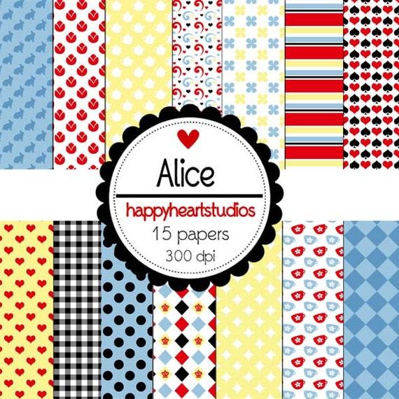 Digital Scrapbook Papers Alice