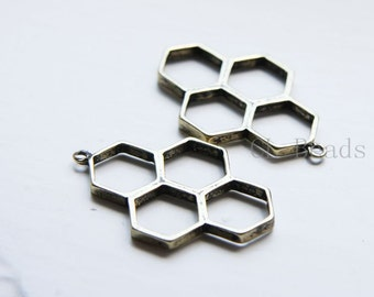 4pcs Antique Brass Tone Base Metal Charms - Honeycomb 37x24mm (312C-Q-174)