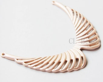 One Piece Matte Rose Gold Plated Base Metal Links - Wing 76x62mm (180C-S-89)