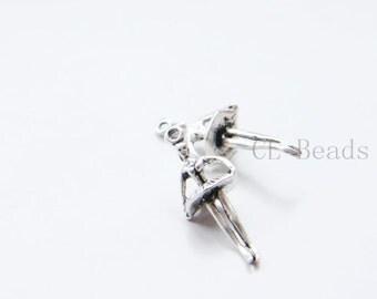 30pcs Oxidized Silver Tone Base Metal Charms-Dancer 25x10mm (22895Y-E-507)