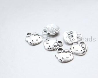 40pcs Oxidized Silver Tone Base Metal Charms - Kitty 13x11mm (1174Y-O-294)