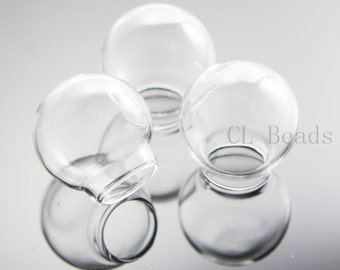 4pcs Clear Glass Cover - One Hole 25x15mm (382C)