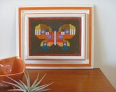 Funky  Vintage Butterfly Needlepoint Wall Hanging