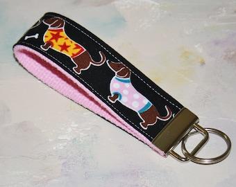 Wrist Key Chain - Key Fob Wristlet Keychain -  Sweet Dachshund Daschund Dogs - Wiener Dog