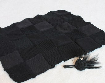 Handquilted Layering Set in Elegant Black with Headband Fascinator -- Ready to Ship -- Custom orders Welcome