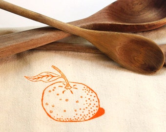 Flour Sack Dish Towel - Clementine screen printed in tangerine orange
