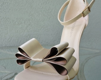 Two Tone Satin Ribbon Bow Shoe Clips Nude And Brown Set Of Two, More Colors Available