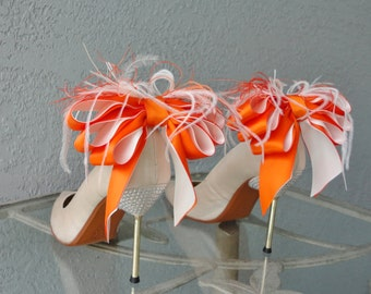 Bridal Party Wedding Tangerine And Ivory Satin Ribbon Bow And Feather Shoe Clips Set Of Two