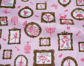 Japanese fabric Ballerina print Half meter (n241)